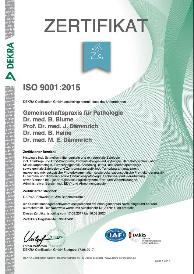 Zertifikat der Gemeinschaftspraxis für Pathologie Schweinfurt